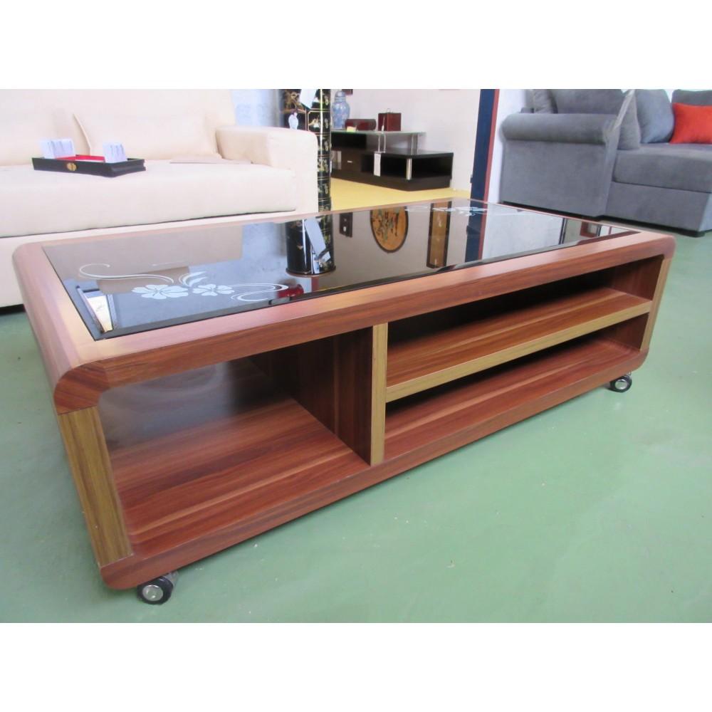 Table de salon verre et bois sur roulettes magasin du for Table salon verre et bois