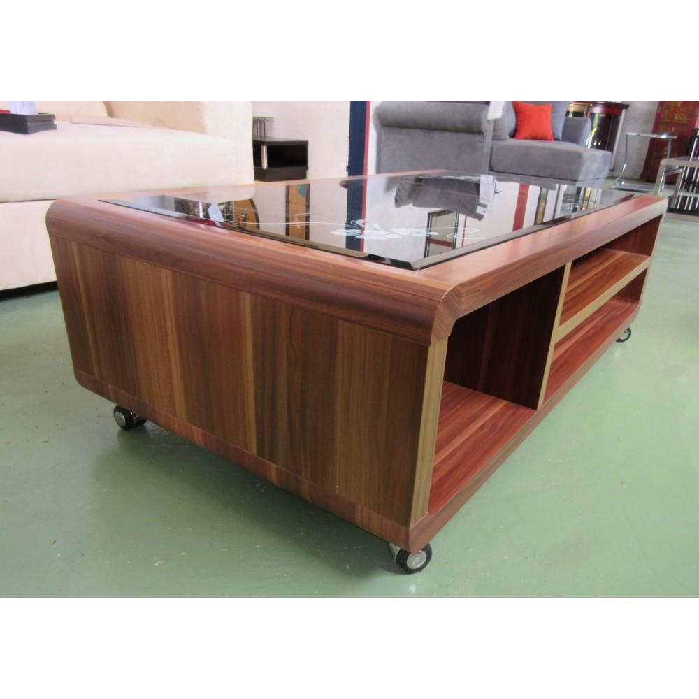 Table de salon verre et bois sur roulettes magasin du - Table tv verre roulettes ...
