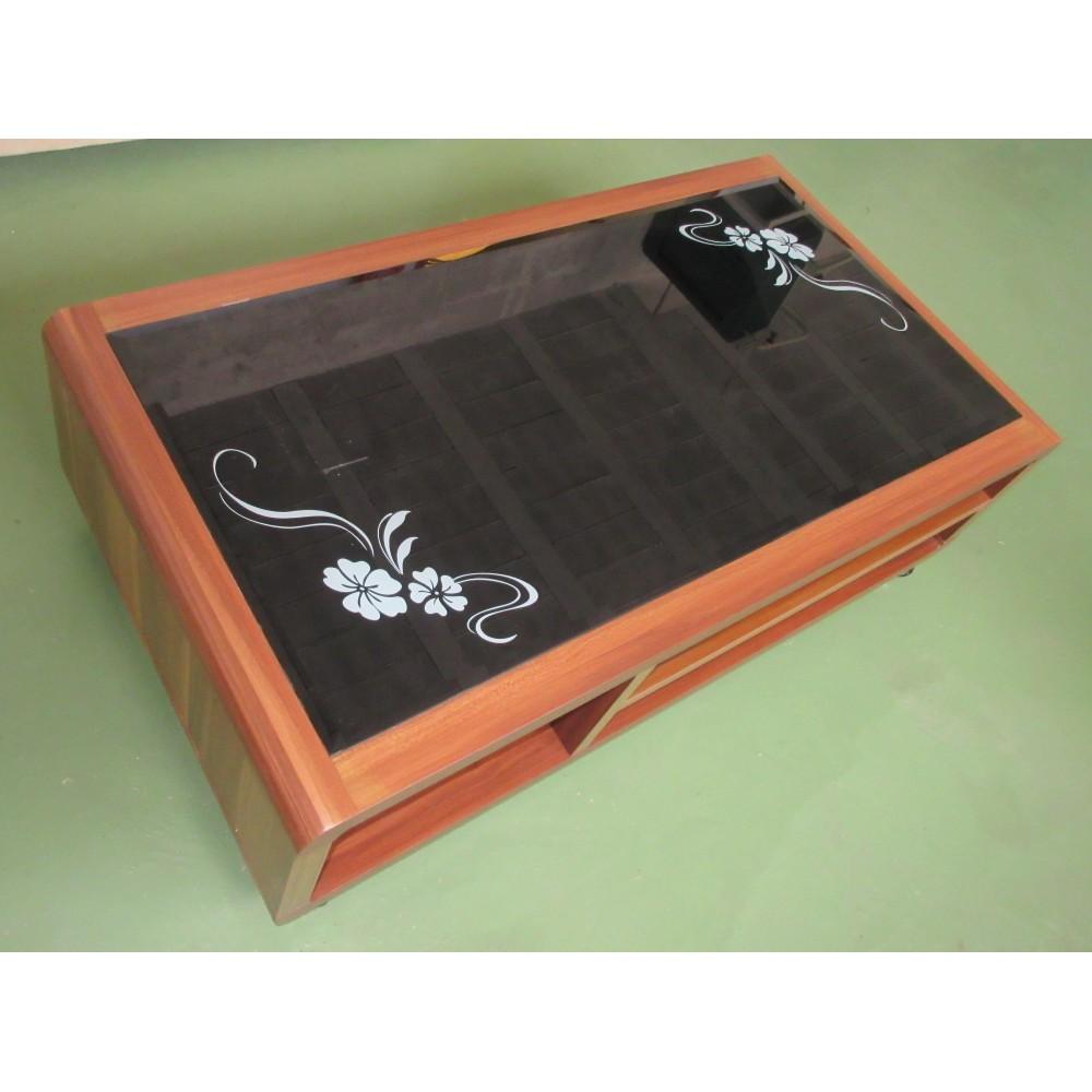 Table de salon verre et bois sur roulettes magasin du for Position verre sur table