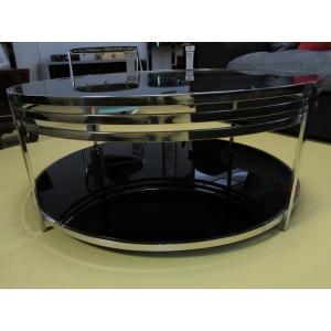 Table de salon ronde métal et verre