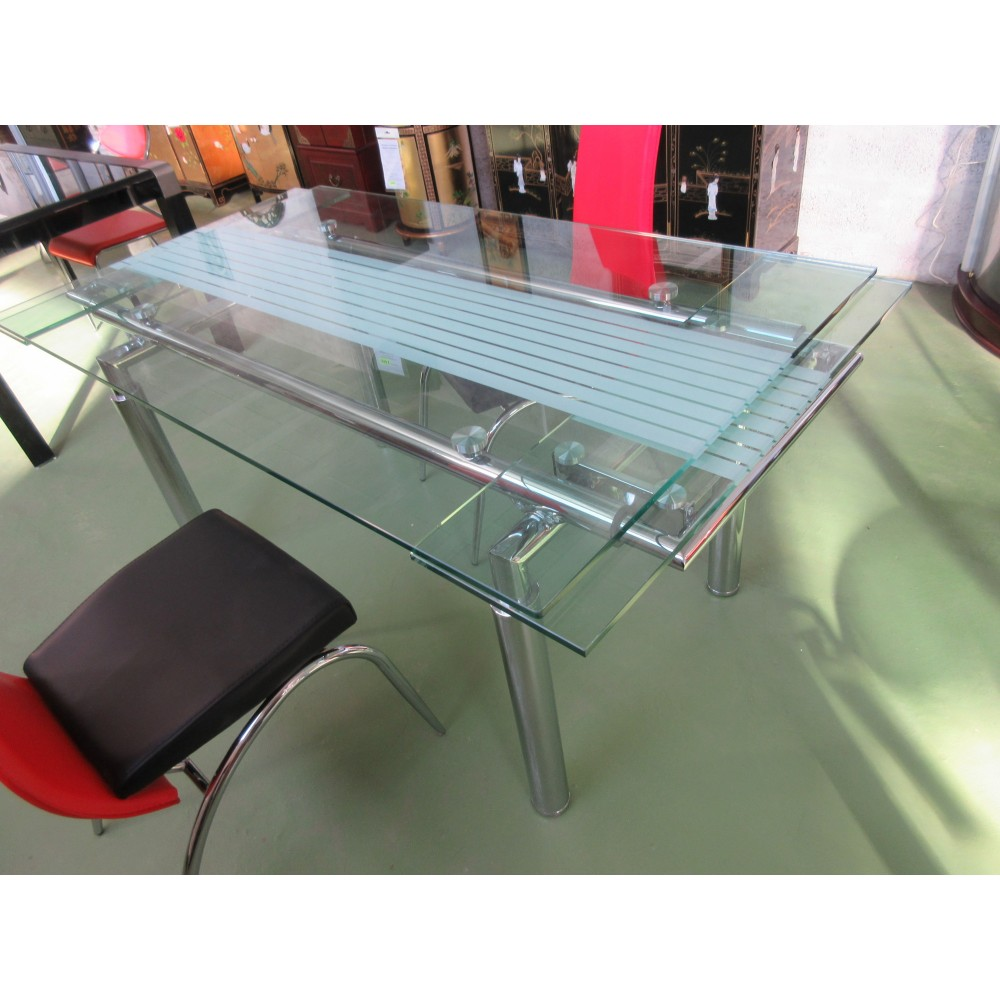 Table salle manger verre avec rallonges magasin du for Table a manger en verre
