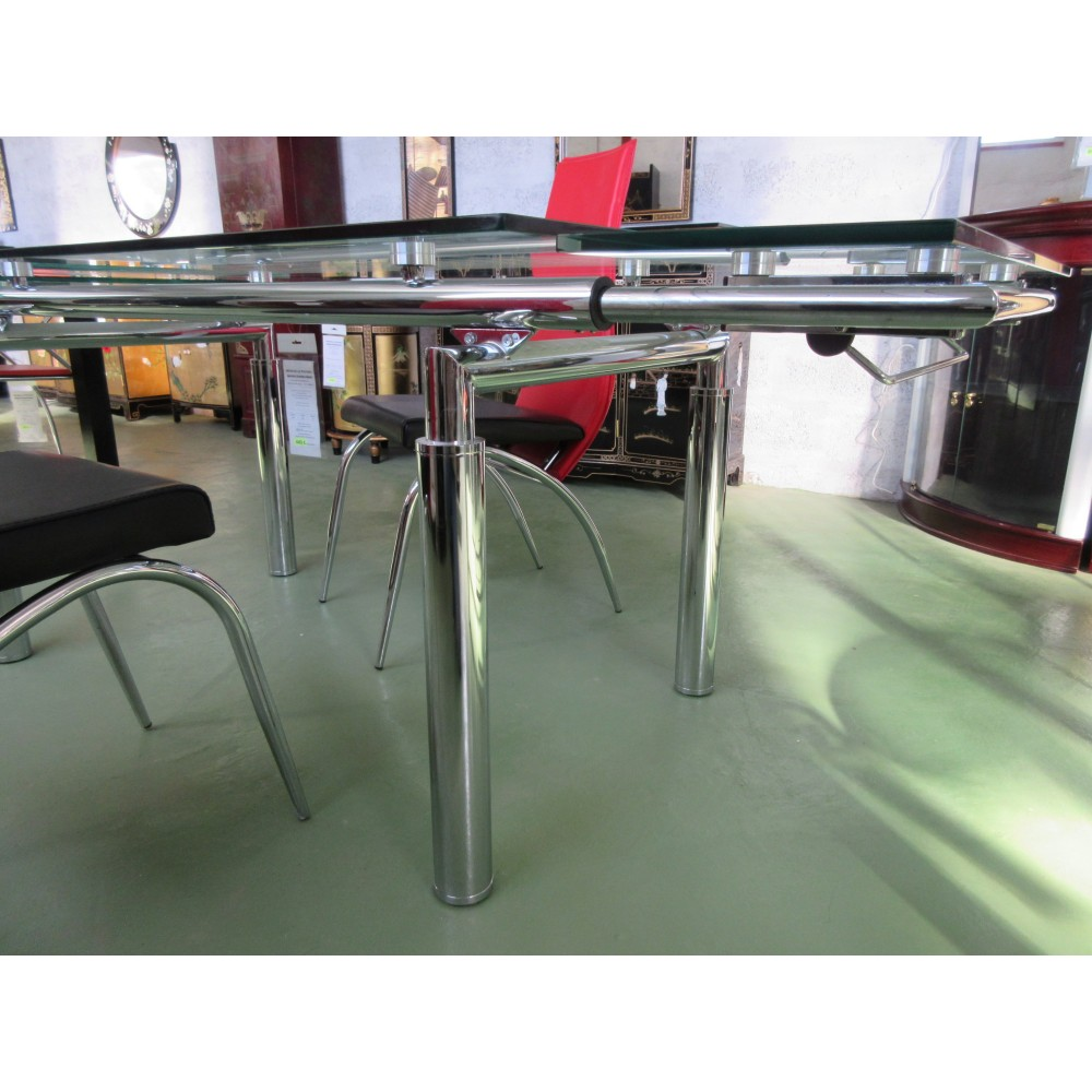 Table salle manger verre avec rallonges magasin du - Photo de table ...