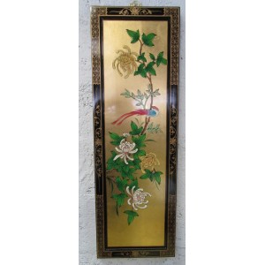 Tableau chinois laqué feuille d'or