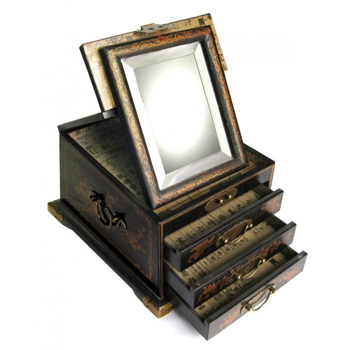 Boite bijoux avec miroir biseaut magasin du meuble - Boite a bijoux miroir ...