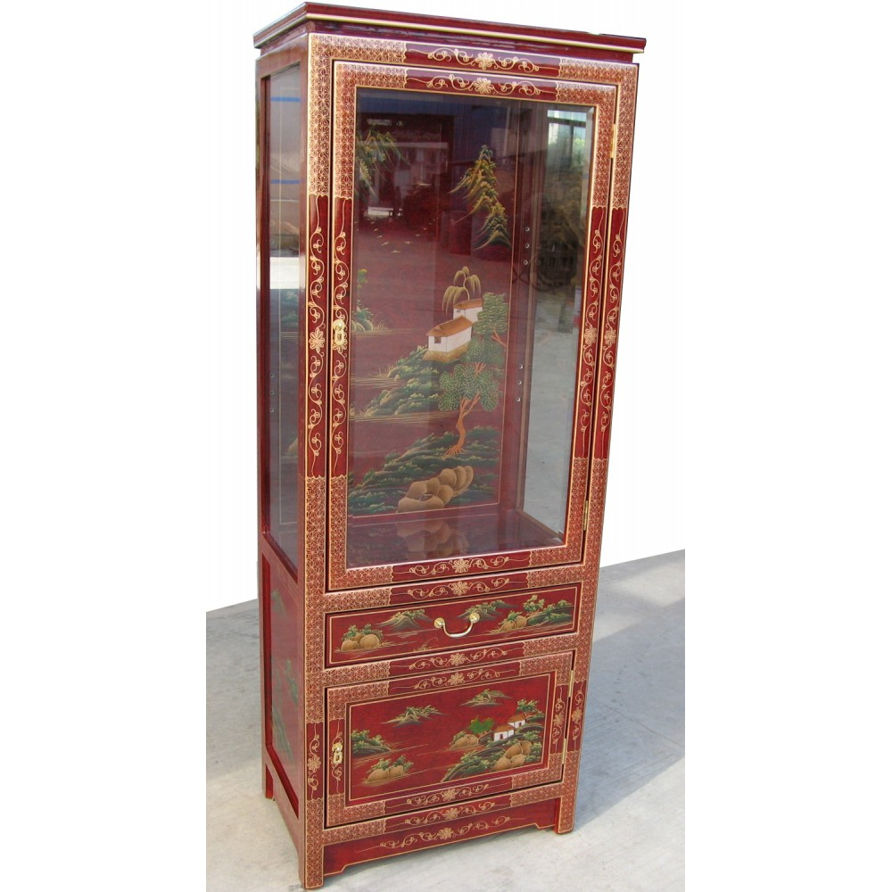 vitrine chinoise laque rouge magasin du meuble asiatique et chinois. Black Bedroom Furniture Sets. Home Design Ideas