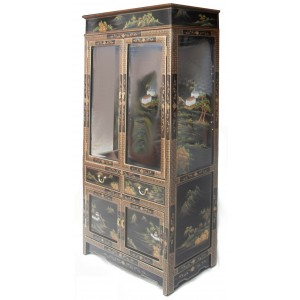 Vitrine Chinoise Laque Noire Meubles Chinois Laques