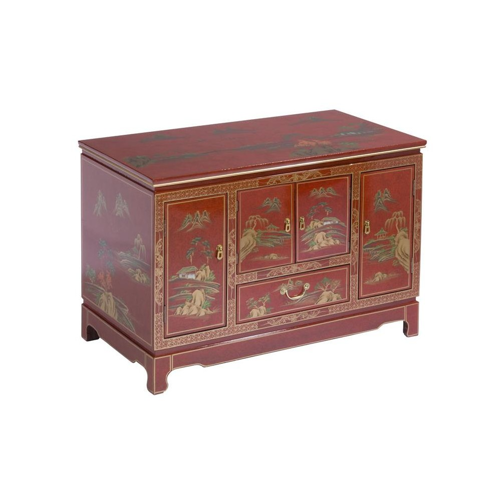 meuble tv chinois laque rouge magasin du meuble asiatique et chinois. Black Bedroom Furniture Sets. Home Design Ideas