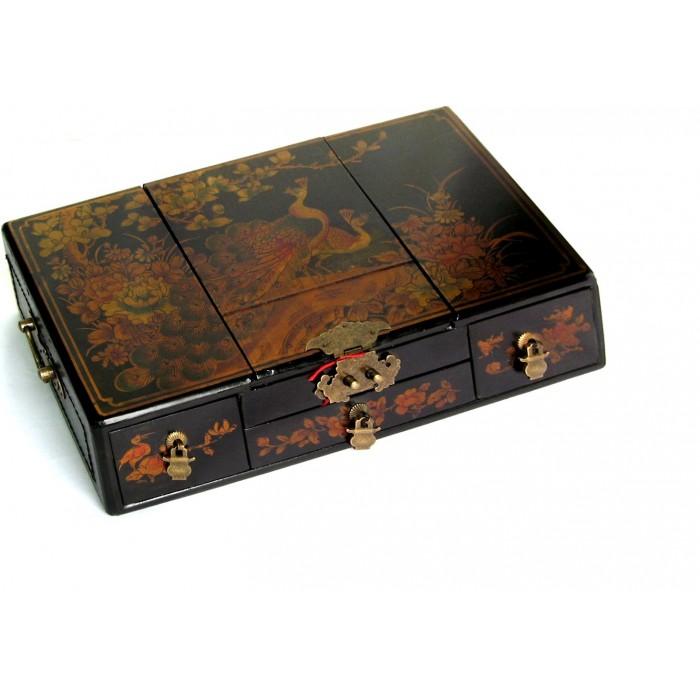 boite bijoux en bois aspect cuir magasin du meuble. Black Bedroom Furniture Sets. Home Design Ideas