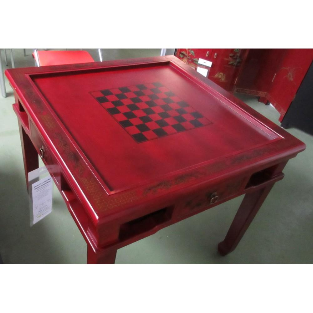 Table chinoise de jeux rouge magasin du meuble asiatique for Mobilier asiatique