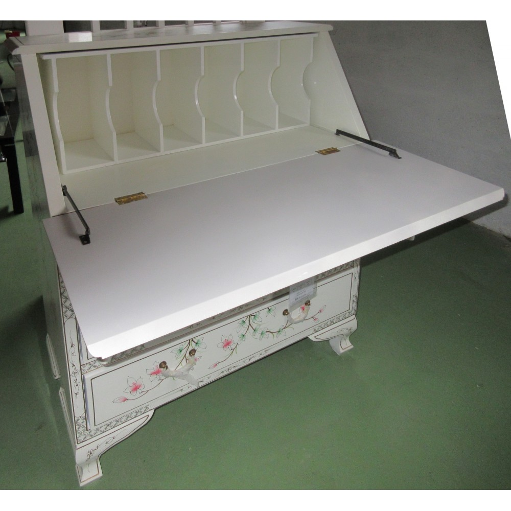 Scriban secr taire chinois laque blanche magasin du for Meuble asiatique