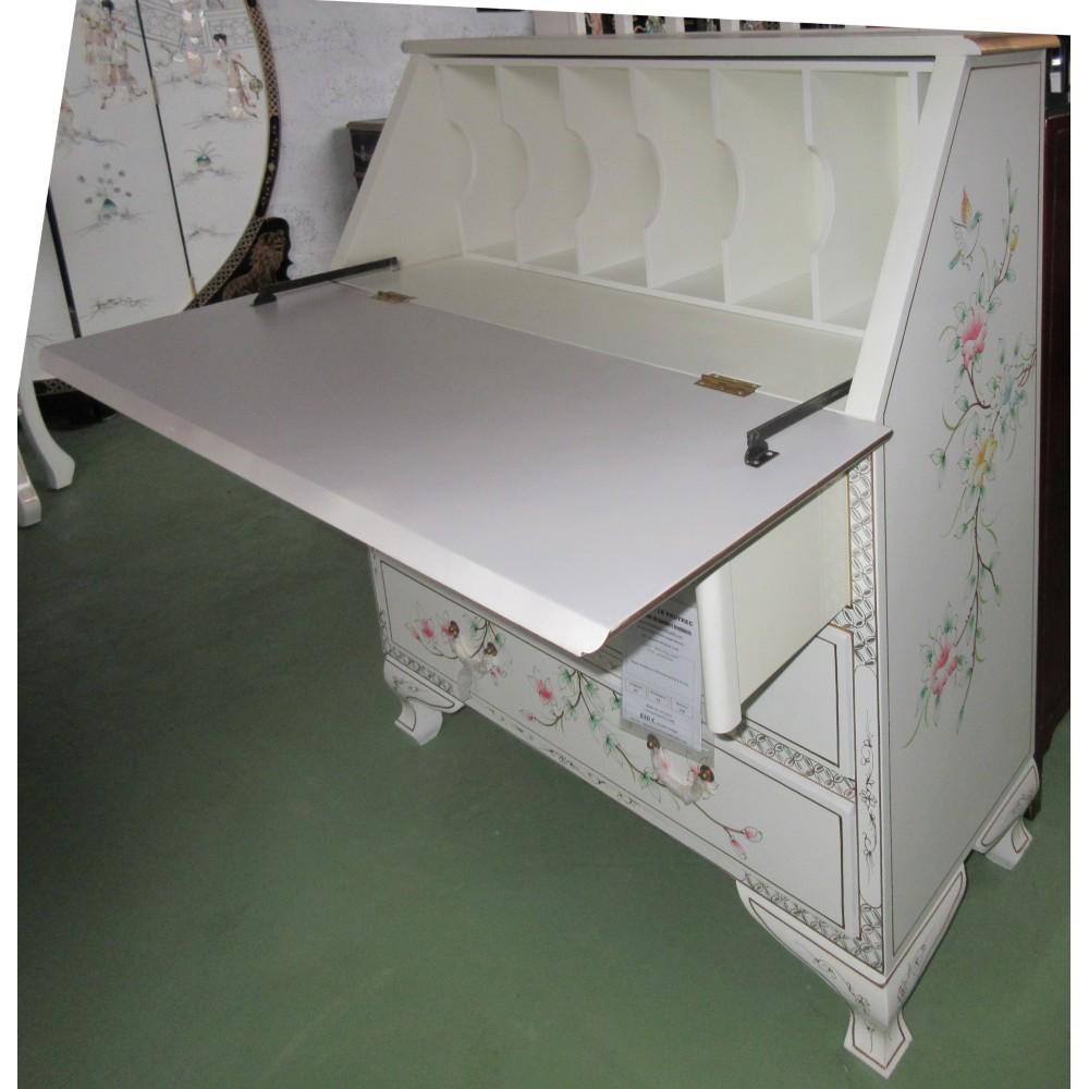 scriban secr taire chinois laque blanche magasin du meuble asiatique et chinois. Black Bedroom Furniture Sets. Home Design Ideas