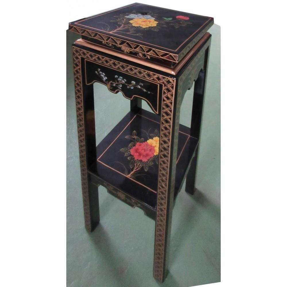 Sellette chinoise noire d cor fleurs magasin du meuble for Mobilier asiatique