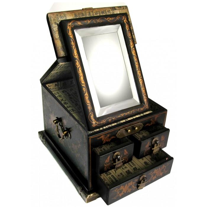 Boite bijoux coiffeuse avec miroir magasin du meuble - Miroir boite a bijoux ...