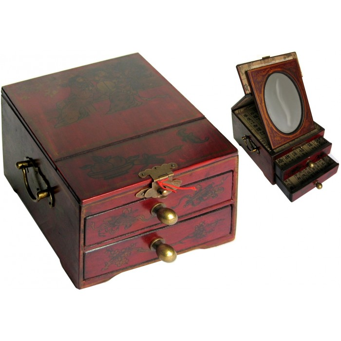 coffret bijoux en bois avec miroir magasin du meuble. Black Bedroom Furniture Sets. Home Design Ideas