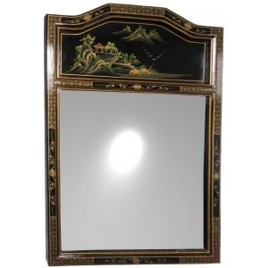 Miroir chinois laque noire