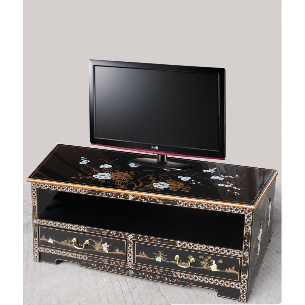 meuble tv chinois laque noire magasin du meuble asiatique et chinois. Black Bedroom Furniture Sets. Home Design Ideas