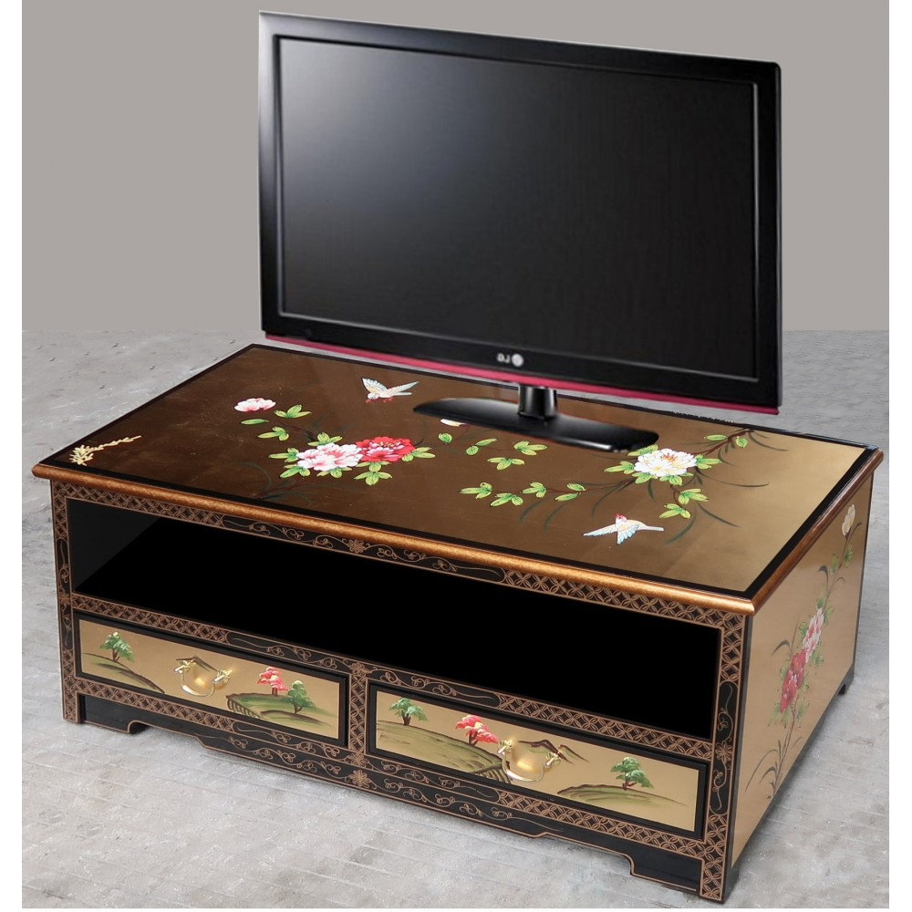 meuble tv chinois laque dor e magasin du meuble asiatique et chinois. Black Bedroom Furniture Sets. Home Design Ideas