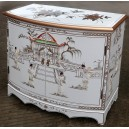 meuble commode buffet chinois laque blanche