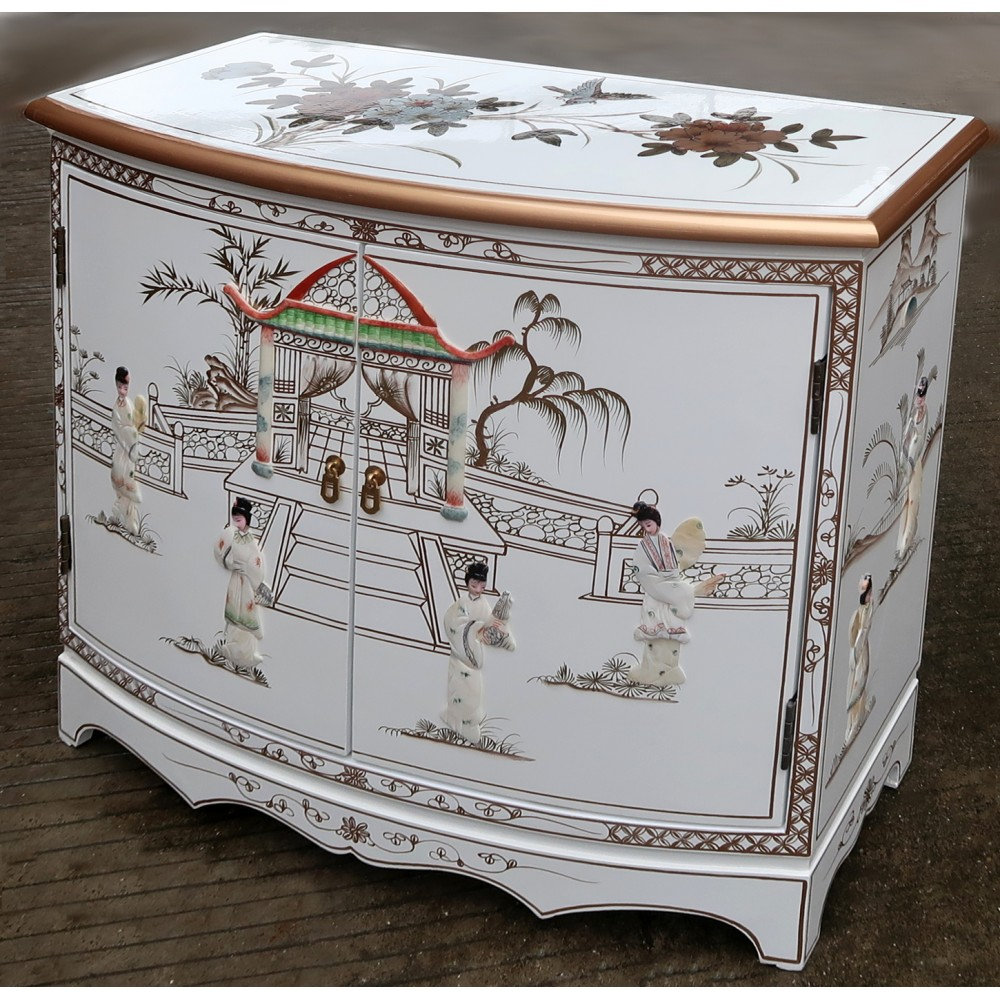 meuble commode buffet chinois laque blanche meubles. Black Bedroom Furniture Sets. Home Design Ideas