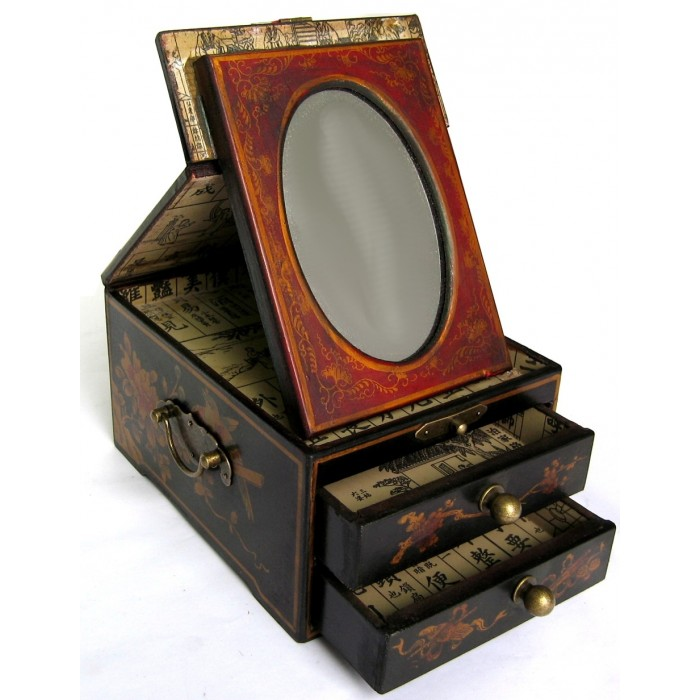 coffret bijoux avec miroir magasin du meuble asiatique. Black Bedroom Furniture Sets. Home Design Ideas