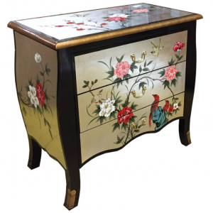Commode chinoise laque d'or