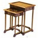Tables gigognes chinoises rondes laque rouge