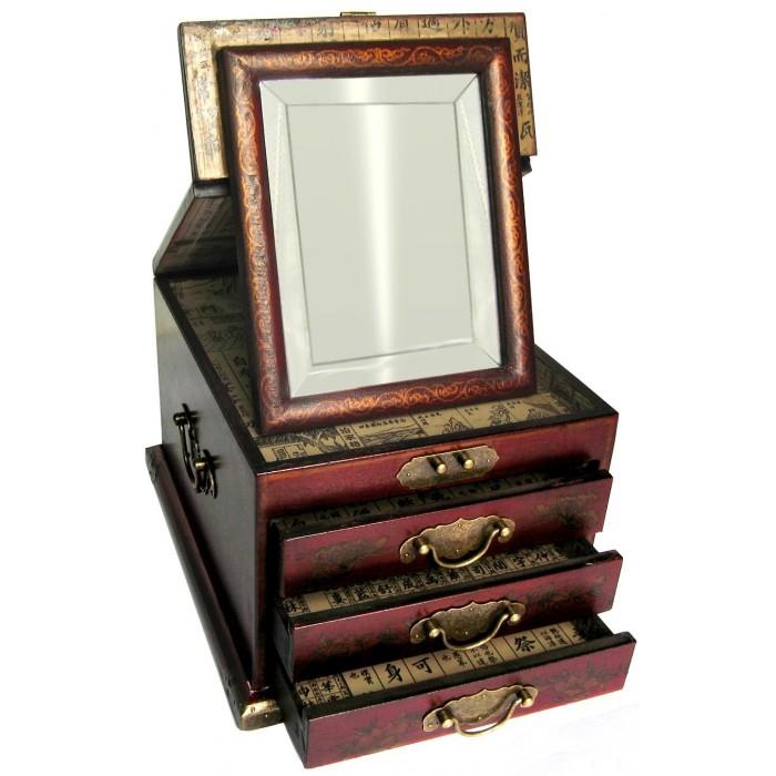 Boite bijoux avec miroir biseaut magasin du meuble - Miroir boite a bijoux ...