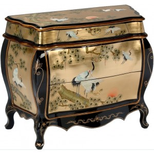Commode chinoise galbée laque d'or