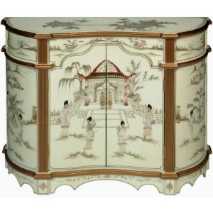 Meuble chinois commode ancien galb laqu blanc magasin for Meuble chinois blanc