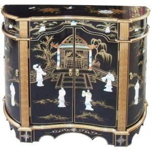 Meuble commode chinois ancien galb laque noire magasin for Mobilier chinois ancien