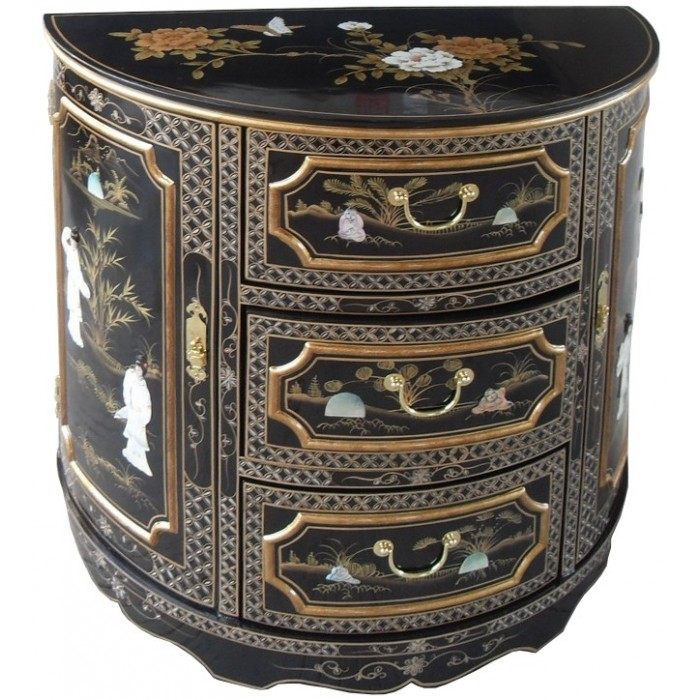 meuble chinois demi lune 2 portes 3 tiroirs noir magasin du meuble asiatique et chinois. Black Bedroom Furniture Sets. Home Design Ideas