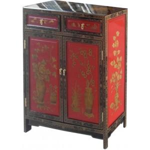 Meuble d'entrée chinois rouge et noir