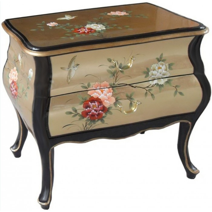 commode asiatique laqu e noire et dor e magasin du meuble asiatique et chinois. Black Bedroom Furniture Sets. Home Design Ideas