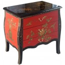 Commode chinoise ancienne rouge et noire