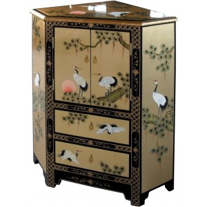 Meuble chinois d'angle laque d'or