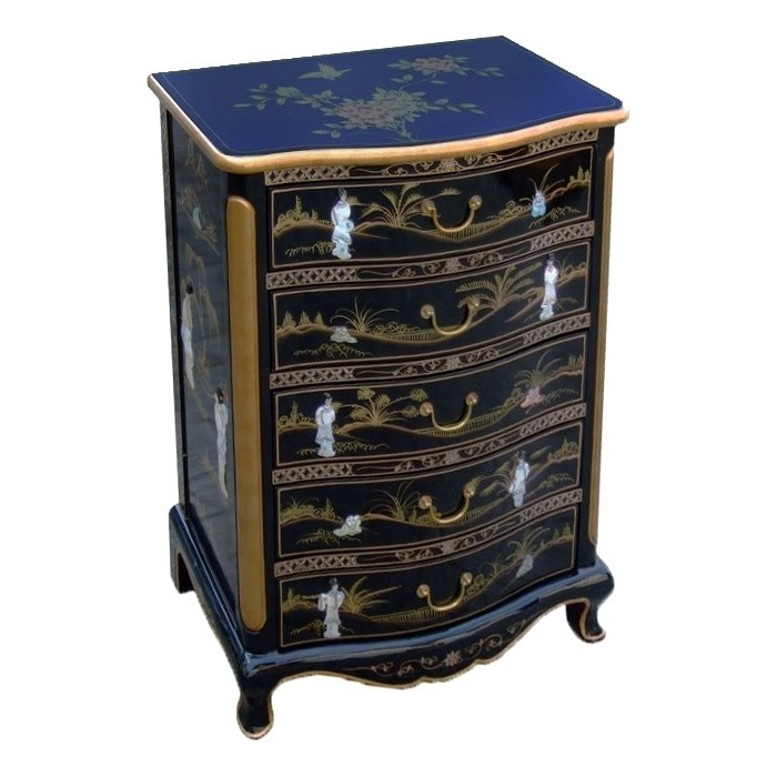 chiffonnier chinois laque noire 5 tiroirs magasin du meuble asiatique et chinois. Black Bedroom Furniture Sets. Home Design Ideas