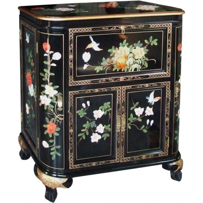 Meuble bar chinois ancien noir laqu magasin du meuble for Meuble asiatique ancien