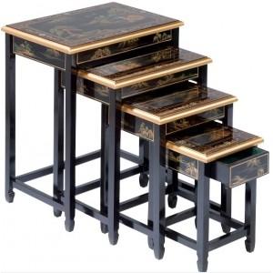 Tables chinoises gigognes noire (x4)