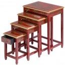 Tables chinoises gigognes  laque rouge