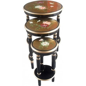 tables chinoises gigognes rondes laque d 39 or magasin du meuble asiatique et chinois. Black Bedroom Furniture Sets. Home Design Ideas
