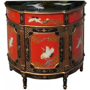 Commode chinoise ancienne rouge et noire laquée