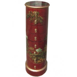 Semainier chinois rond laque rouge