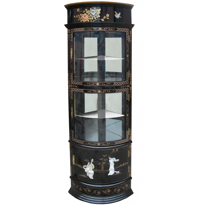 vitrine d 39 angle chinoise ancienne laque noire et nacre magasin du meuble asiatique et chinois. Black Bedroom Furniture Sets. Home Design Ideas