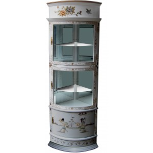 vitrine chinoise d'angle laque blanche et nacre