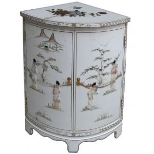 meuble d'angle blanc chinois