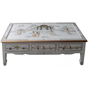 Table basse chinoise laque blanche dessus verre
