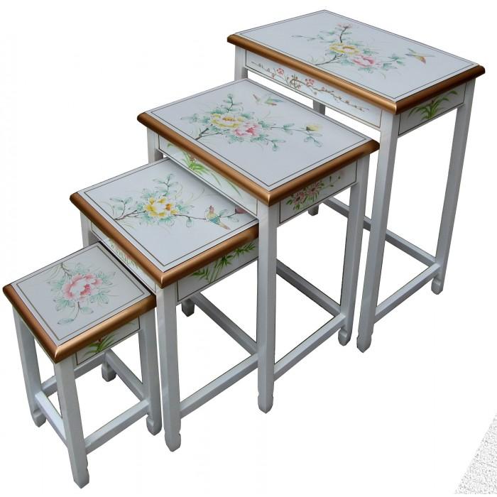 Tables gigognes blanches asiatique laqu e x4 magasin for Mobilier asiatique