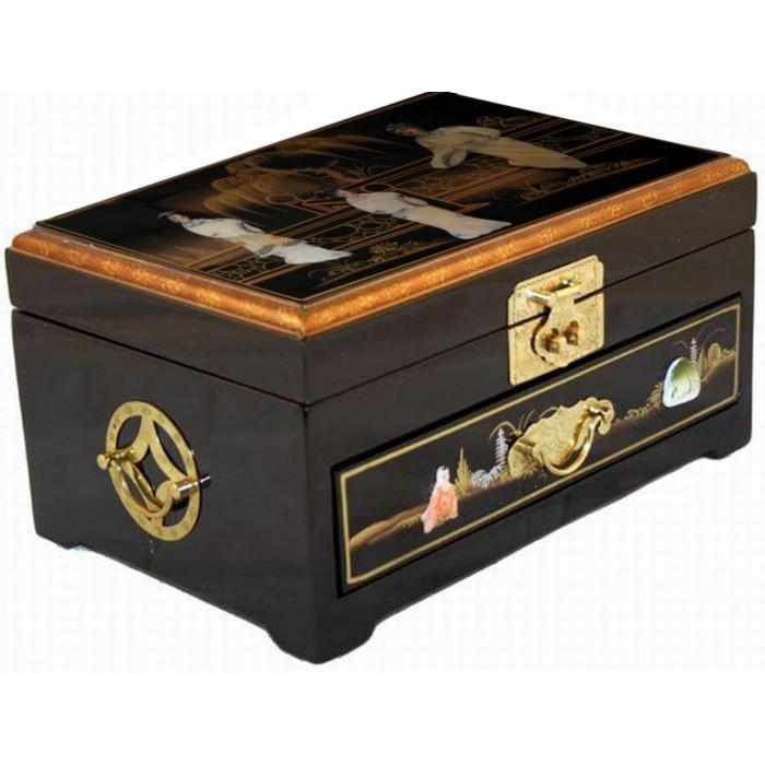 Boite bijoux laque noire magasin du meuble asiatique for Meuble chinois laque noir